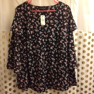 NEW Lane Bryant Floral Top Blouse 14/16 NWT career